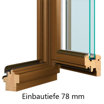 Holzfenster Kiefer Softline 78mm