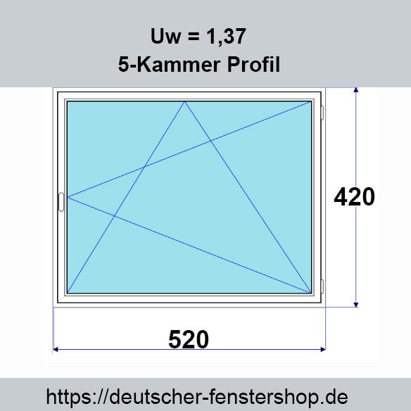 Kunststofffenster DKR 520mm x 420mm Weiss Lagerfenster