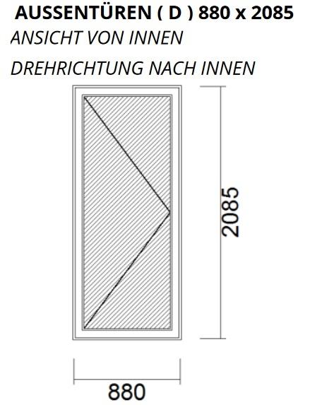 Nebeneingangstür DIN Links 880 x 2085 Wohnungstür Kellertür