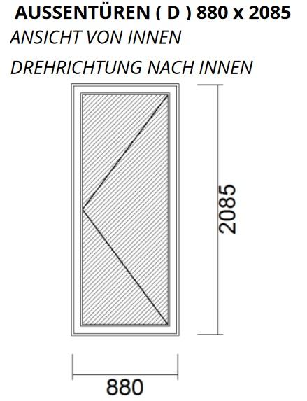 Nebeneingangstür DIN Rechts 880 x 2085 Wohnungstür Kellertür