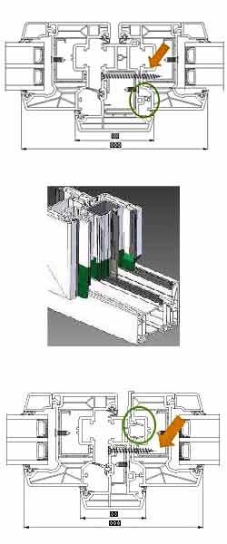 Die Positionierungshilfe bei Schüco LivIngs Stulprofilen sorgt für eine einfache Montage