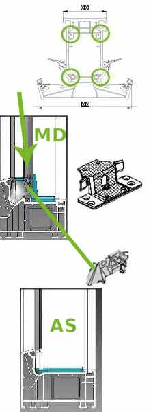Schüco Livings Zinkdruckgussverbinder mit 4 Schraubkanälen